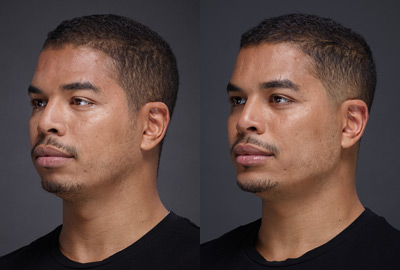 Before After Man face with brown eyes on grey background | Fillmed